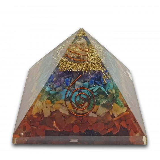 Πυραμίδα οργονίτης με στρώματα από ορυκτά των επτά τσάκρα, μεγάλο μέγεθος