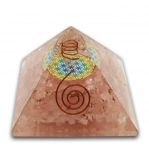 Πυραμίδα-οργονίτης ροζ χαλαζία, μεγάλο μέγεθος