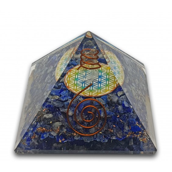 Πυραμίδα οργονίτης με λάπι λάζουλι και το λουλούδι της ζωής, μεγάλο μέγεθος