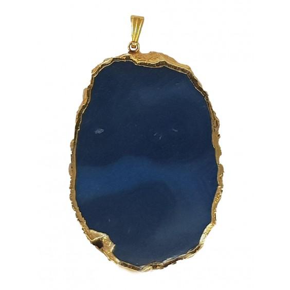 Μενταγιόν αχάτη μπλε με μεταλλικό περίγραμμα (χρυσού χρώματος)